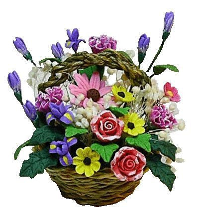 Basket of Flowers, Pastel Colors
