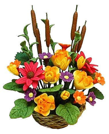 Basket of Flowers with Cat Tails
