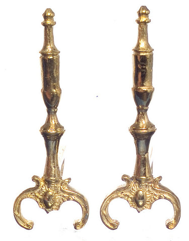 Andirons, Tall, Brass