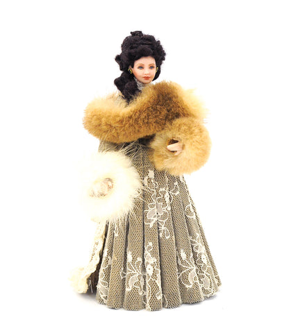 Artisan Doll with Fur Stole