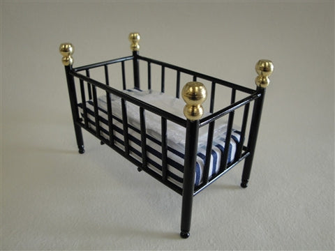 Crib, Black Metal with Gold Posts