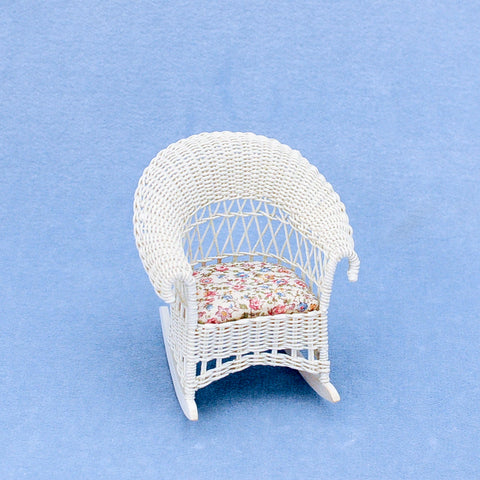 Wicker Rocking Chair, White with Chintz
