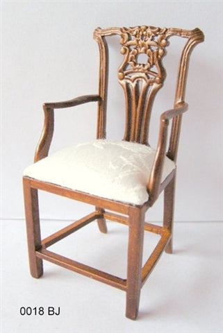 Arm Chair with Carved Back, White Seat