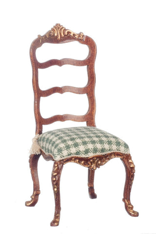French Provincial Chair with Green Check ON SPECIAL