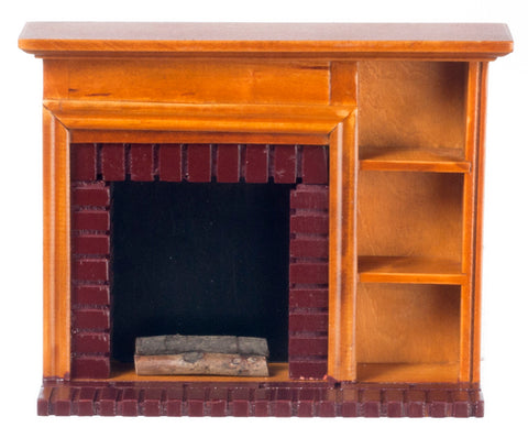 Fireplace with Book Shelves, Walnut Finish