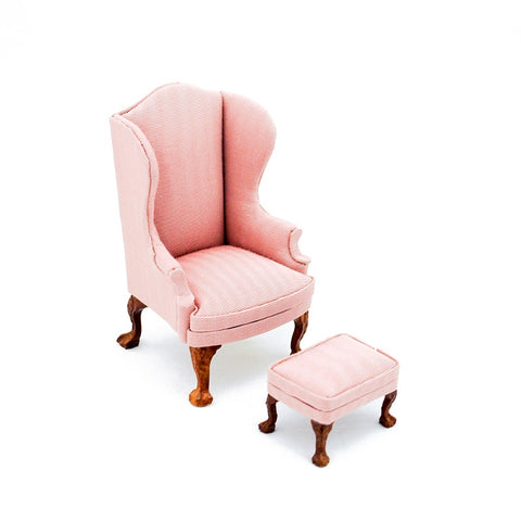 Wing Chair and Ottoman, Pink