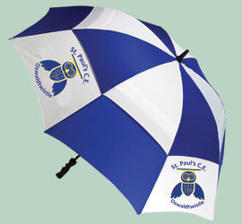 Personalised custom printed umbrellas logo
