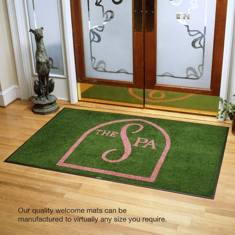 Large custom printed welcome mat in Green U.K schools business