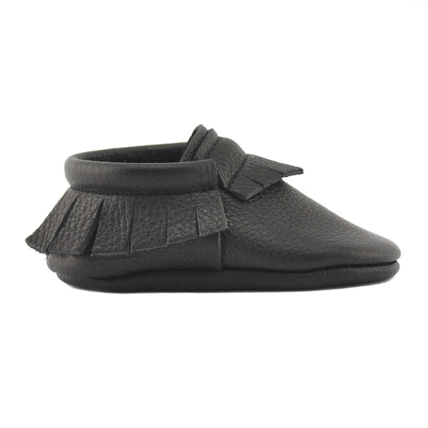 Black-Little Lambo vegetable tanned baby moccasins