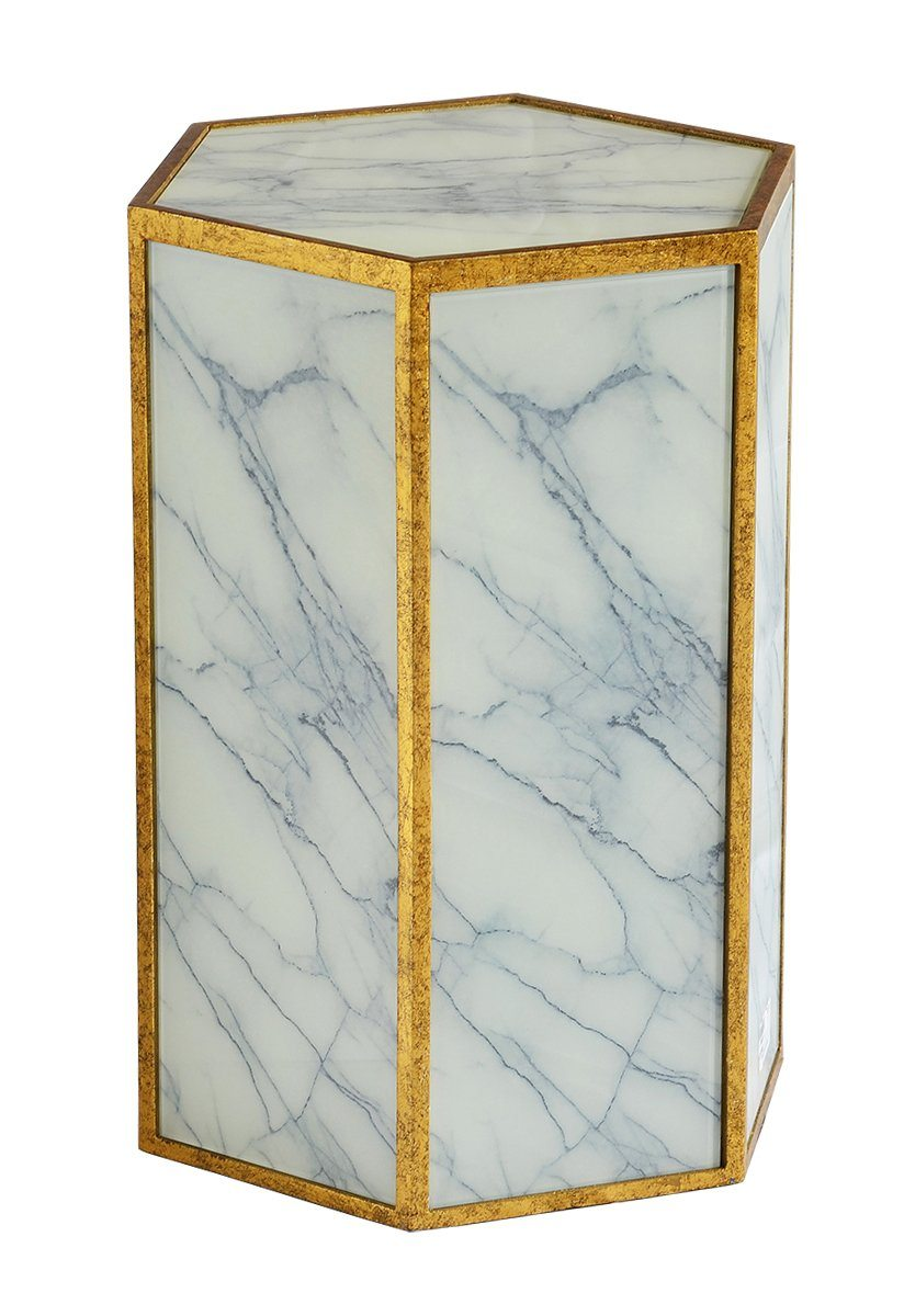 Glass stool marble White