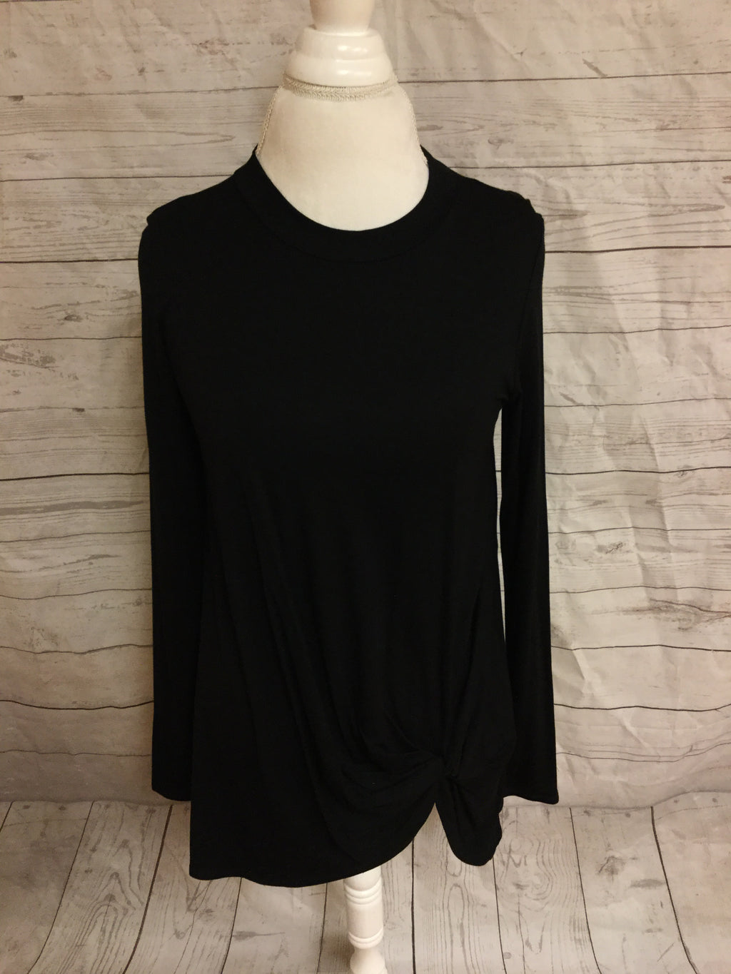 Knotted Black Long Sleeve Tunic