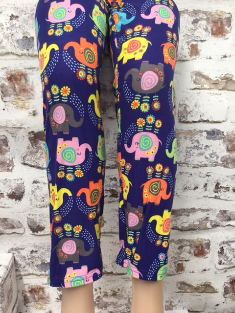 Extra Plus Happy Colorful Elephant Print Leggings