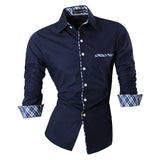 2016 Spring Autumn Features Shirts Men Casual Jeans Shirt New Arrival Long Sleeve Casual Slim Fit Male Shirts Z020 - Navy / S - Houzz of Threadz - 4