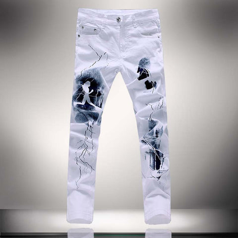 White 3D Printed Men Jeans -  - Houzz of Threadz - 1