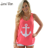 Women Anchor Print Sleeveless T Shirt -  - Houzz of Threadz - 1