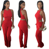 Red Full Length Elegant Long Solid Jumpsuits - as picture / L - Houzz of Threadz - 2