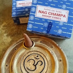 OM Cone Burner & 2 Boxes of Nag Champa Incense Cones