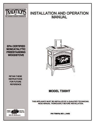 Earth Stove Traditions T300HT User Manual - Wood_Trad300ht