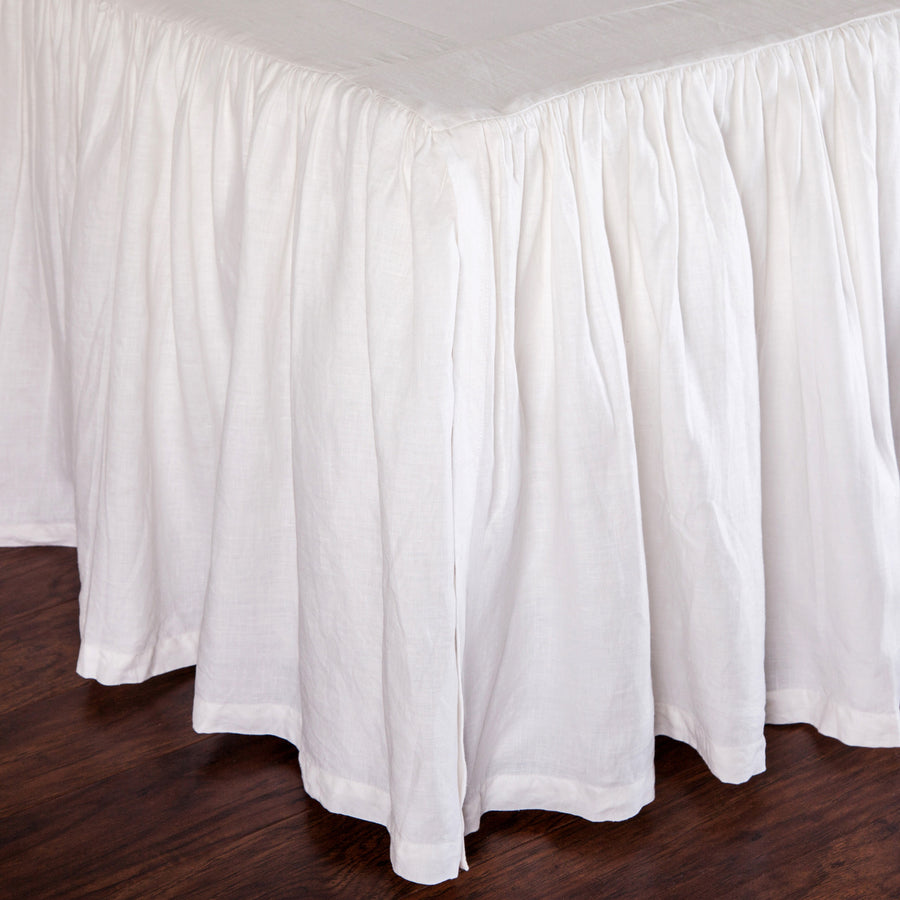 GATHERED LINEN BEDSKIRT- WHITE