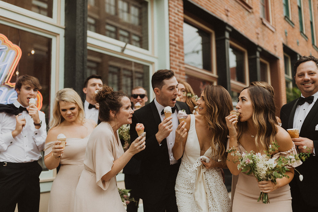 Real bride wedding dress and bridal party