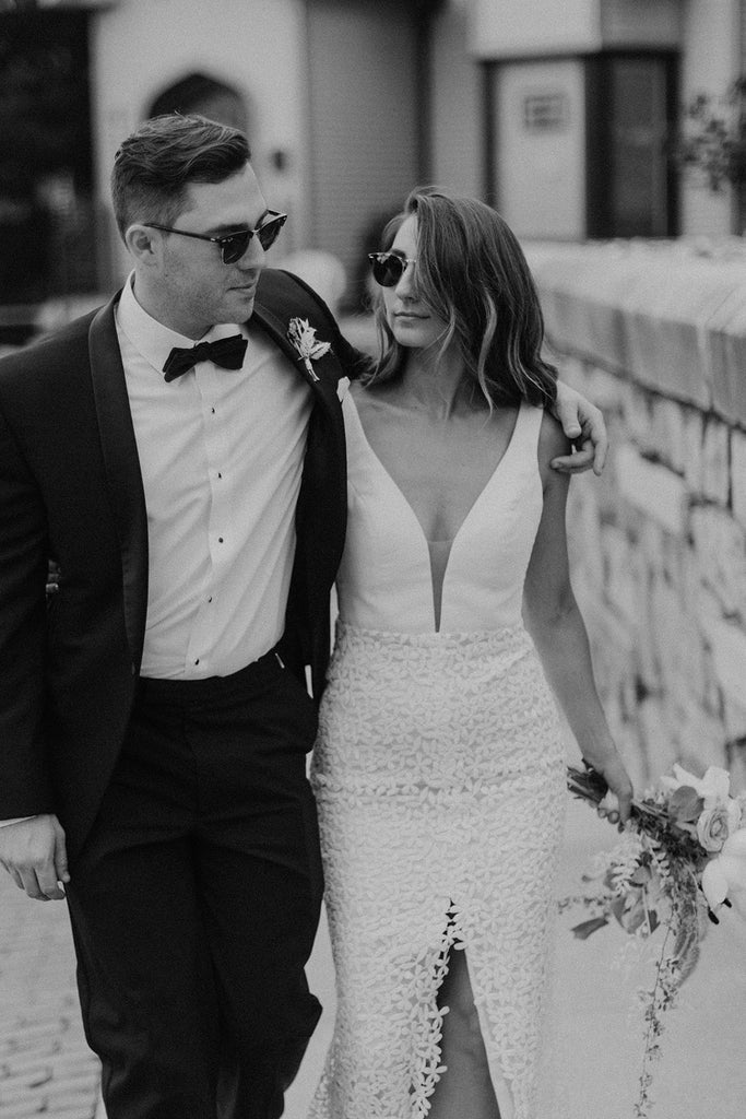 real bride in modern lace wedding dress