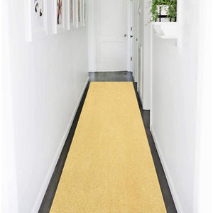 Solid Yellow Color Custom Size Runner Area Rug - 3' to 4' Width