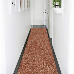 Solid Rust Color Custom Size Runner Area Rug - 2' Width