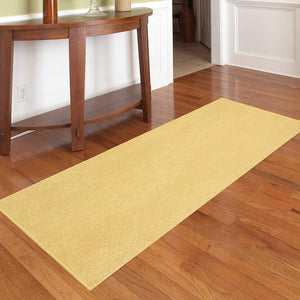Solid Yellow Color Custom Size Runner Area Rug - 2' Width