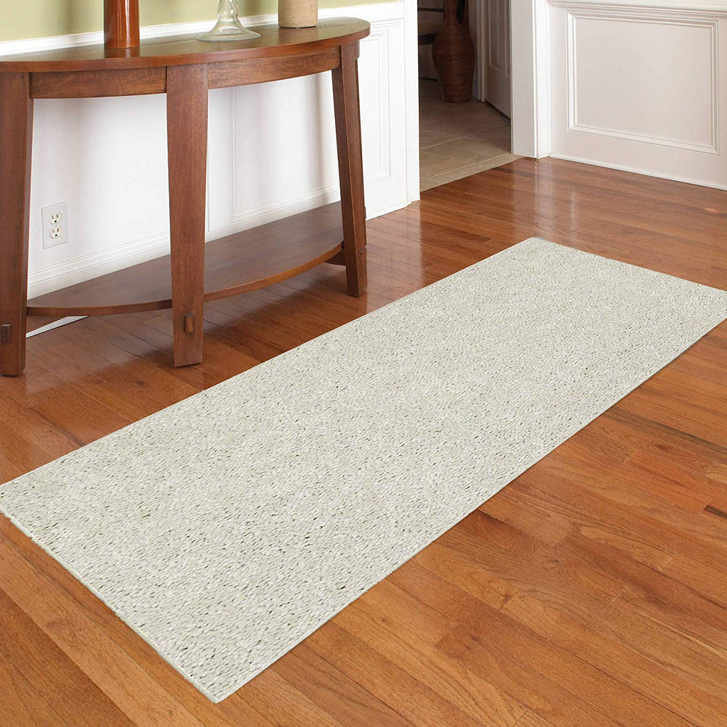 Solid Off White Color Custom Size Runner Area Rug - 2' Width