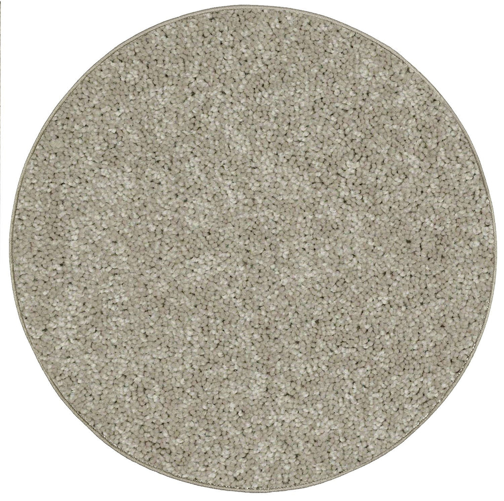 Solid Color Area Rug Round-Beige