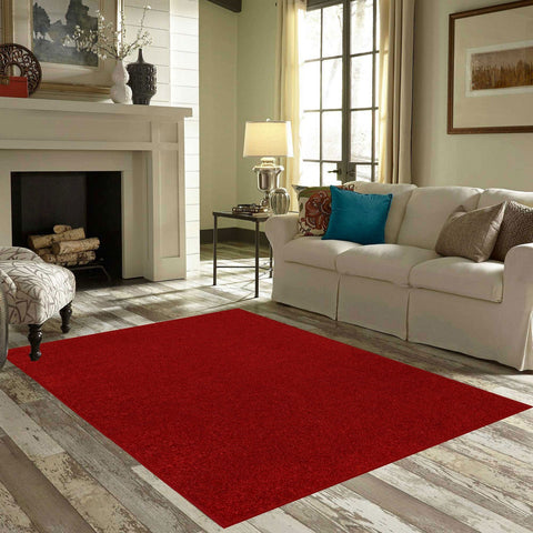 Solid Color Area Rug Halfround-Red