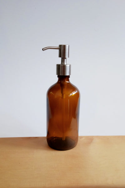 Amber glass bottle with stainless steel gel soap pump