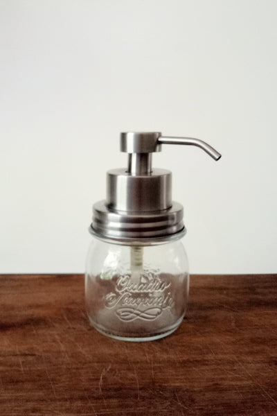 Italian glass jar with stainless steel foaming soap pump