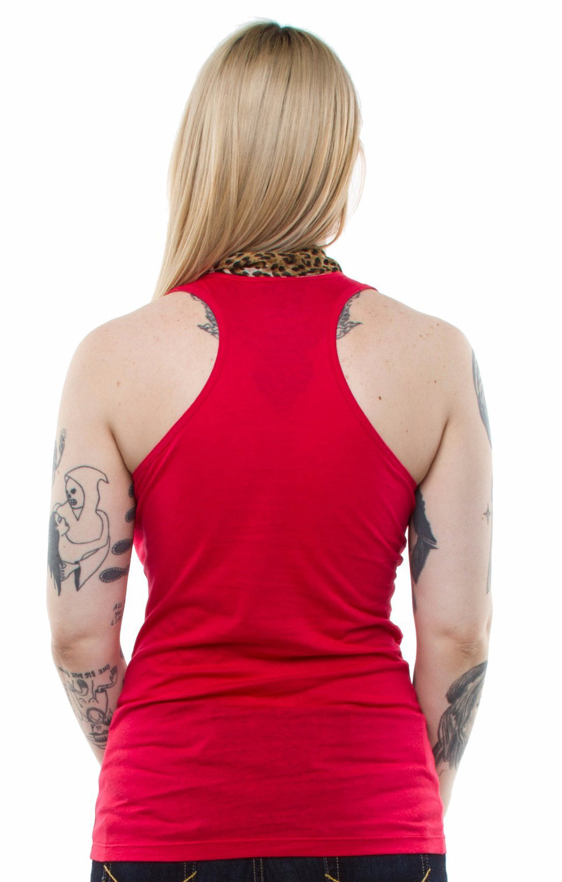 The DAME Leopard Scarf Tank Top - RED