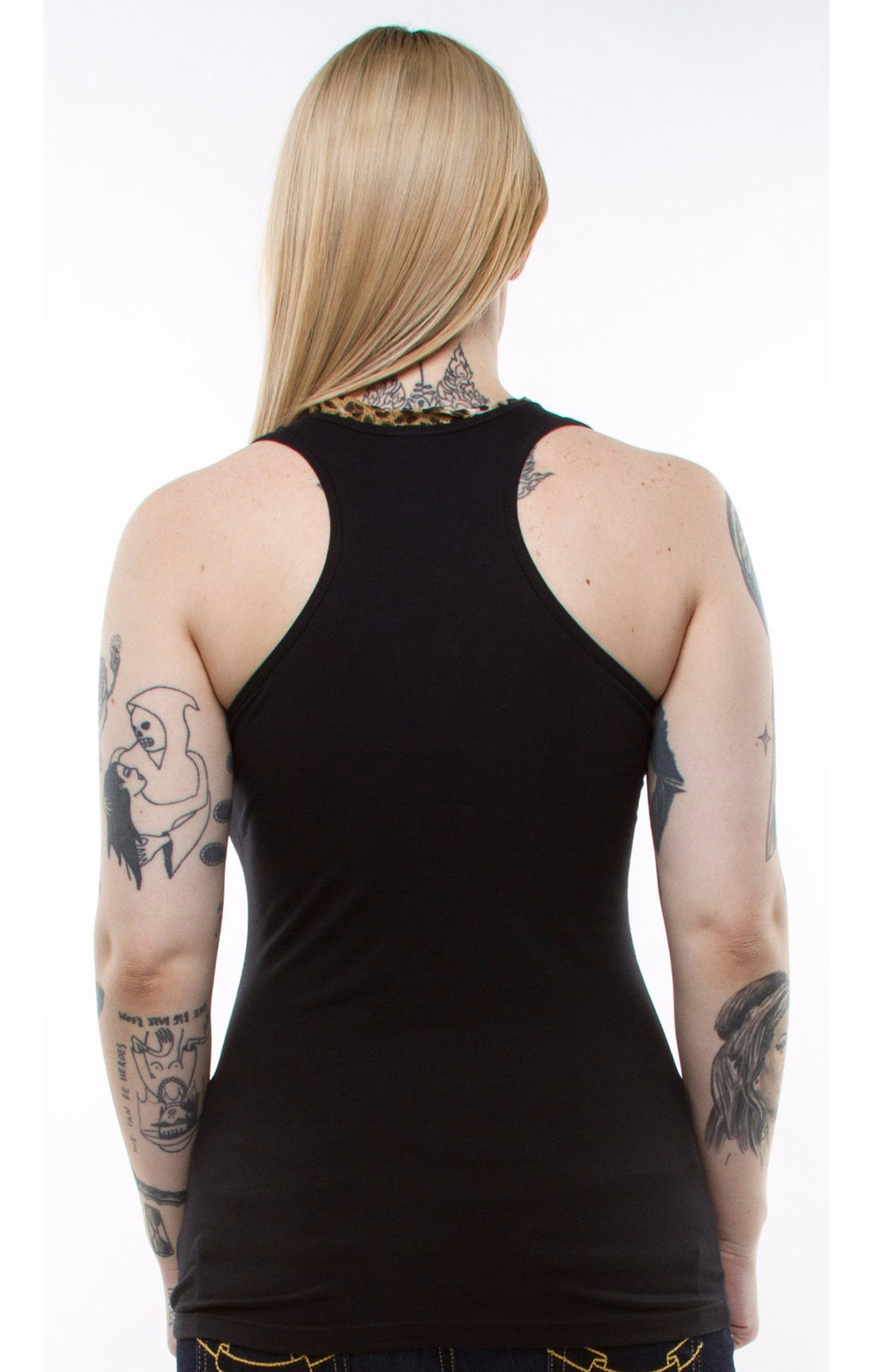 The DAME Leopard Scarf Tank Top - BLACK