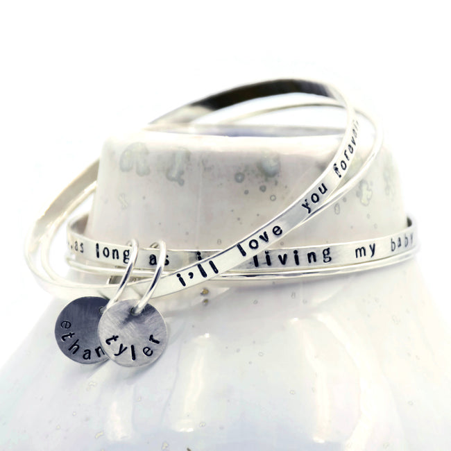 mommy bangle bracelet set with kid names