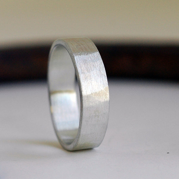 silver hammered wedding band