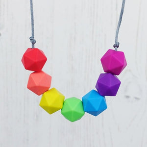 Geo Brights: Radiant Rainbows Silicone Teething Necklace - Pebbles and Lace