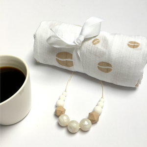 Coffee Bean Swaddle & Teething Necklace Gift Set - Pebbles and Lace