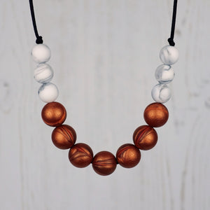 Copper Crush: Bubbles Teething Necklace - Pebbles and Lace