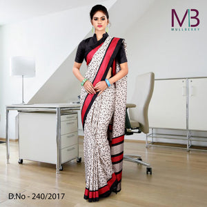 Red and white mulberry silk uniform saree