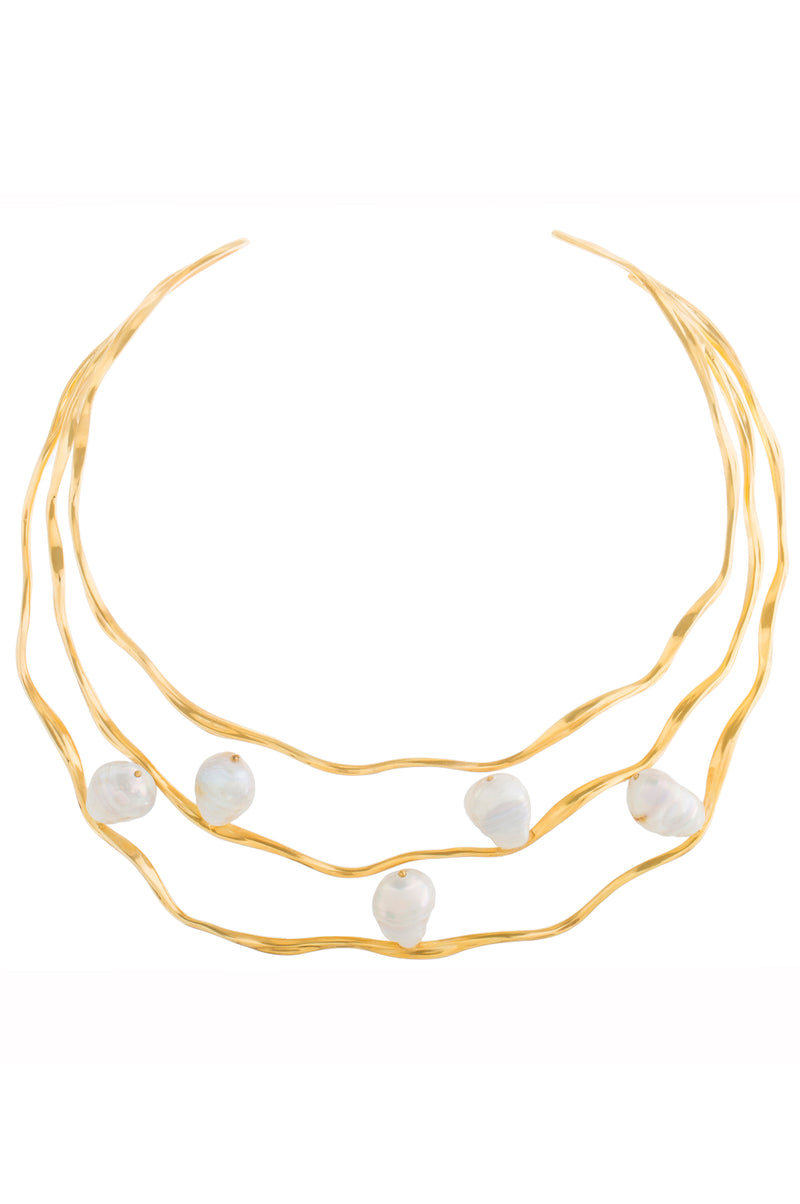 FEMININE WAVES PEARL STATEMENT NECKLACE