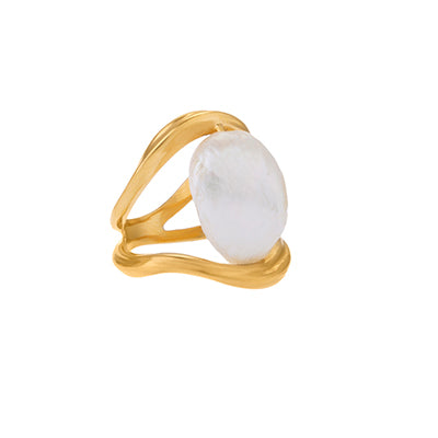 FEMININE WAVES PEARL RING