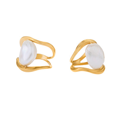 SET OF TWO FEMININE WAVES PEARL RINGS