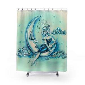 Girl on the Moon • Shower Curtain