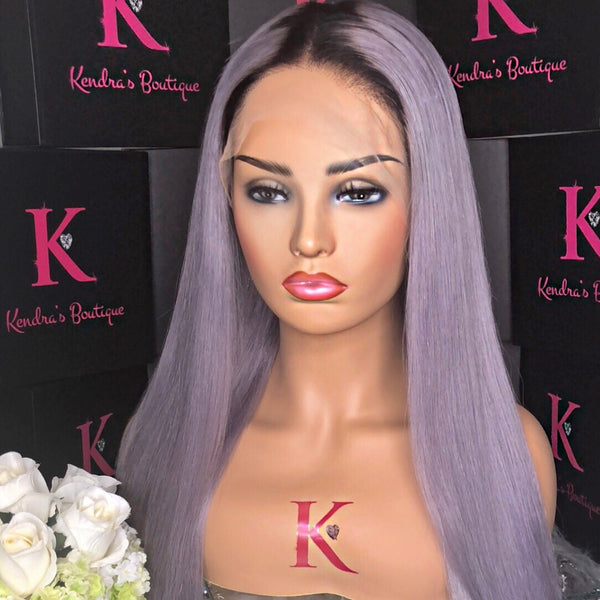 "READY TO SHIP ""DARK PEPPER GRAY #1B DARK ROOTS"" FULL LACE WIG"