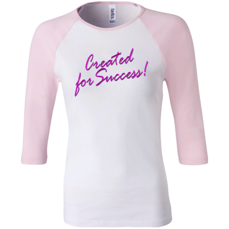 Created for success!Junior 100% Cotton 3/4 Sleeve Baseball T