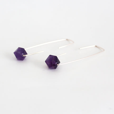 Dark Amethyst Staple earrings