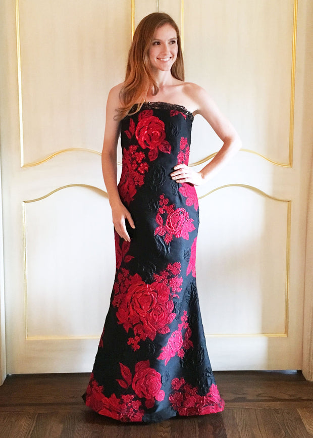 Black & Red Brocade Gown