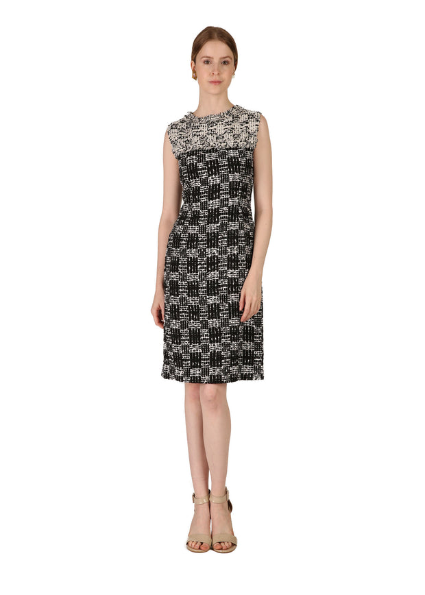 Black & White Patterned Tweed Dress
